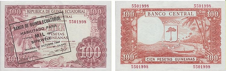 Paper Money - Guinea 100 Pesetas 1969 with countermark 1000 Bipkwele 1980