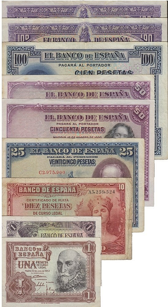 Paper Money - 9 expl. Spain 1, 10, 25, 50, 100 Pesetas 1925-1953