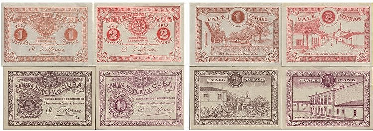 Cédula - Cuba 4 expl. 1, 2, 5, 10 Centavos 1919
