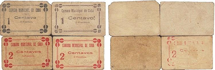 Cédula - Cuba 4 expl. 1, 2 Centavos N/D