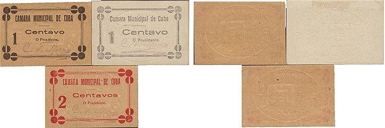 Cédula - Cuba 3 expl. 1, 2 Centavos N/D