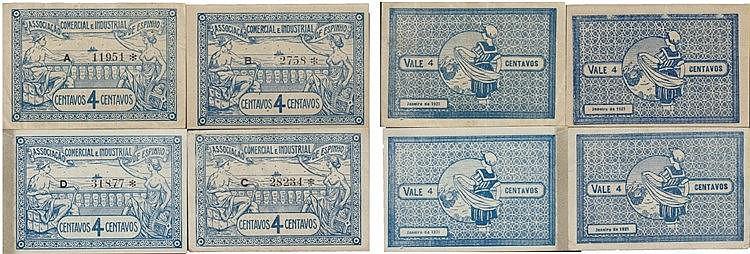 Cédula - Espinho 4 expl. 4 Centavos 1921
