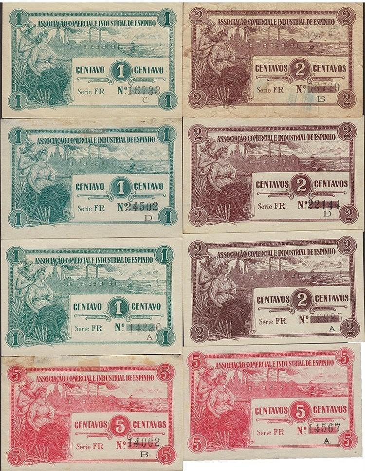 Cédula - Espinho 8 expl. 1, 2, 5 Centavos N/D