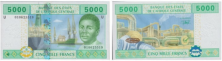 Paper Money - Central African 5000 Francs 2002