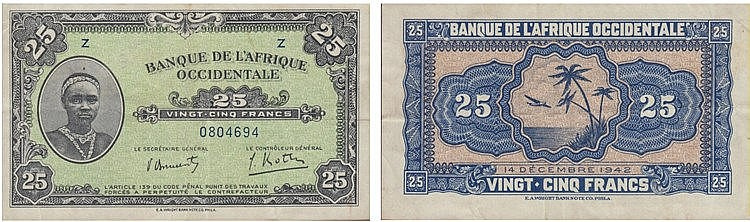 Paper Money - French West Africa 25 Francs 1942