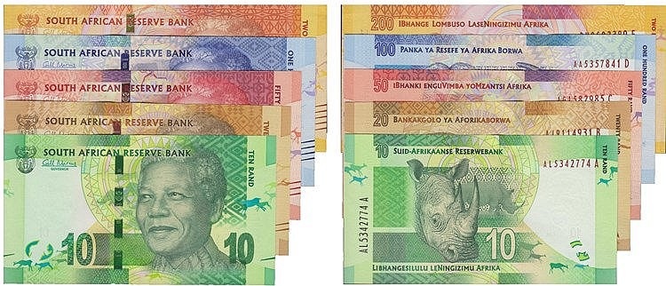 Paper Money - South Africa 5 expl. 10, 20, 50, 100, 200 Rand ND