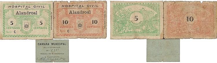 Cédula - Alandroal 3 expl. 2, 5, 10 Centavos N/D