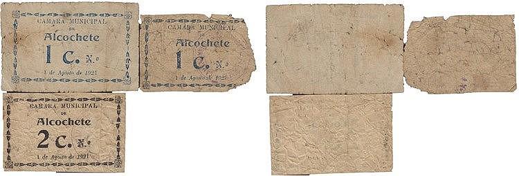 Cédula - Alcochete 3 expl. 1, 2 Centavos 1921