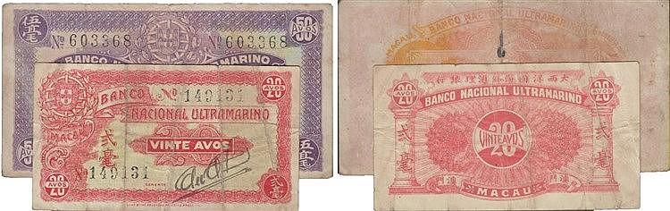 Paper Money - 2 expl. Macau 20, 50 Avos ND(1944)
