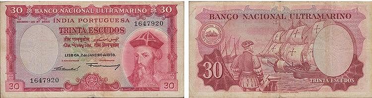 Paper Money - Portuguese India 30$00 1959