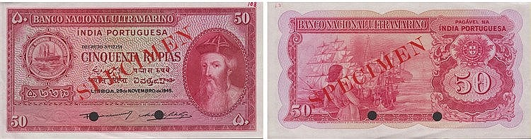 Paper Money - Portuguese-India 50 Rupias 1945, SPECIMEN