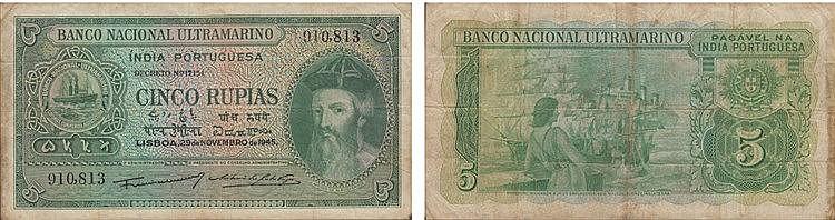 Paper Money - Índia 5 Rupias 1945