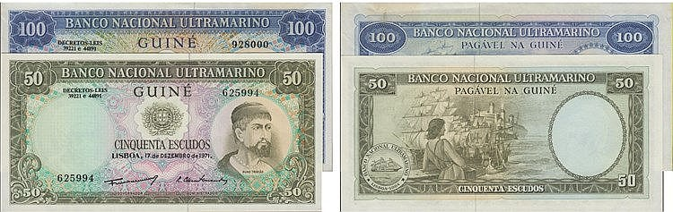 Paper Money - Guinea 2 expl. 50$00, 100$00 1971