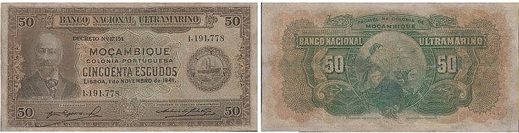 Paper Money - Mozambique 50$00 1941