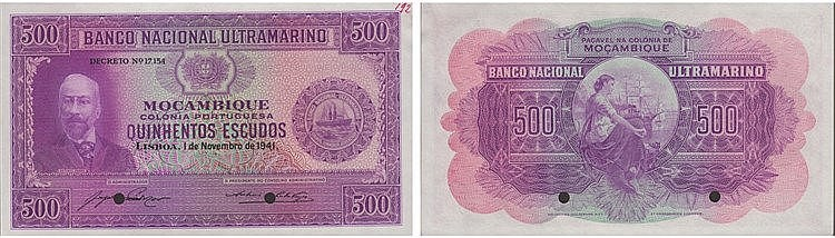 Paper Money - Mozambique 500$00 1941, ESPÉCIME
