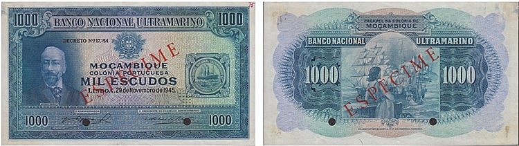Paper Money - Mozambique 1000$00 1945 ESPÉCIME