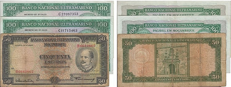 Paper Money - 3 expl. Mozambique 50$, 100$ 1958-ND(1976)