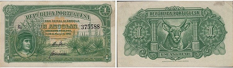 Paper Money - Angola 1 Angolar 1942
