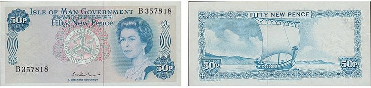 Paper Money - Isle of Man 50 New Pence ND (1972)