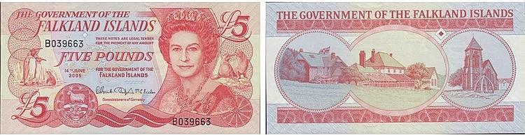 Paper Money - Flakland Islands 5 Pounds 2005