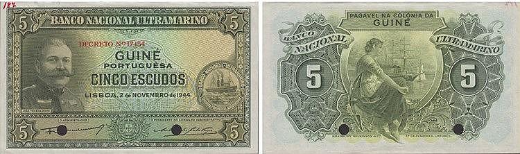 Paper Money - Portuguese-Guinea 5$00 1944, ESPÉCIME