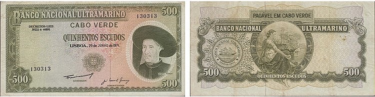 Paper Money - Cape Verde 500$00 1971