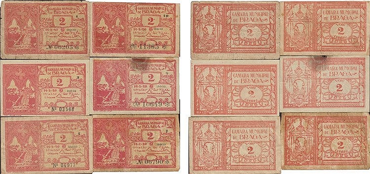 Cédula - Braga 6 expl. 2 Centavos 1920