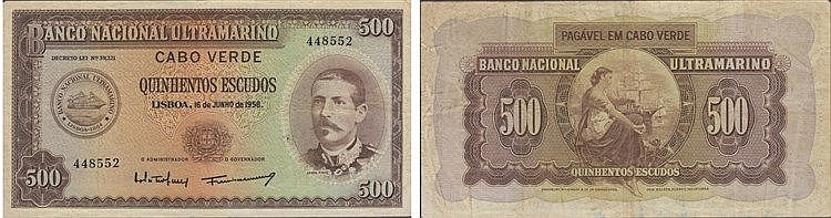 Paper Money - Cape Verde 500$00 1958