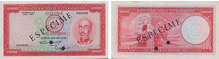 Paper Money - Portuguese Guinea 1000$00 1964 ESPÉCIME