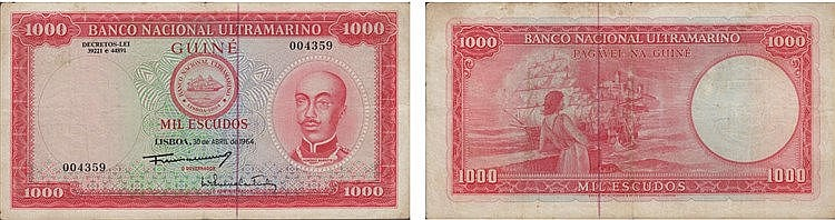 Paper Money - Guinea 1000$00 1964