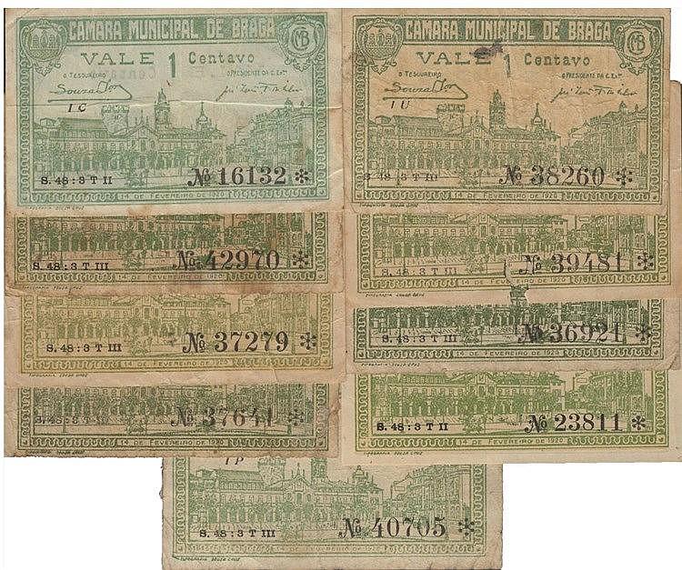 Cédula - Braga 9 expl. 1 Centavo 1920