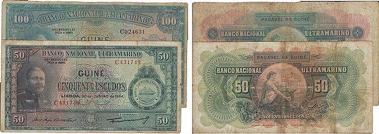 Paper Money - Guinea 2 expl. 50$00, 100$00 1964