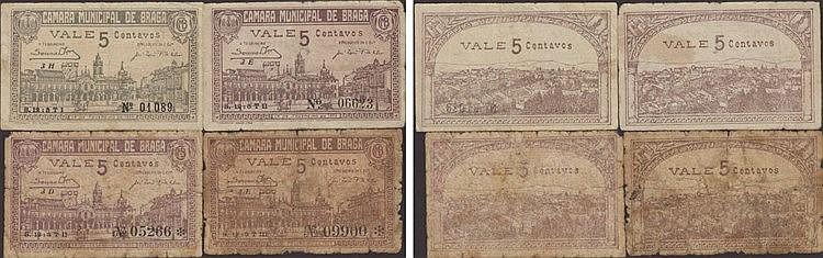 Cédula - Braga 4 expl. 5 Centavos 1920