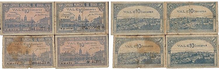 Cédula - Braga 4 expl. 10 Centavos 1920