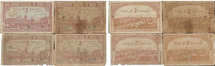 Cédula - Braga 4 expl. 2 Centavos 1920
