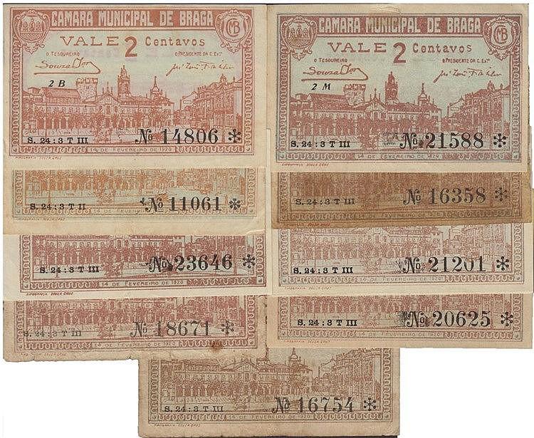 Cédula - Braga 9 expl. 2 Centavos 1920