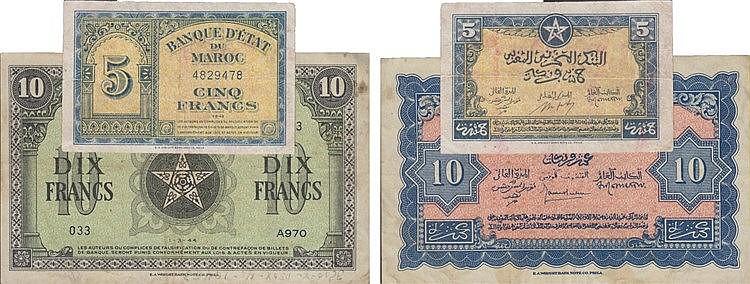 Paper Money - Morrocos 2 expl. 5, 10 Francs 1943-1944