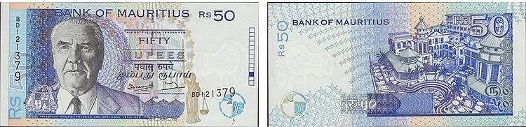 Paper Money - Mauritius 50 Rupees 1998