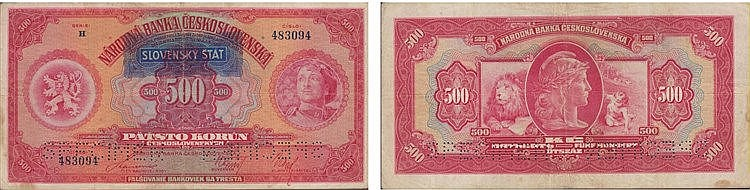 Paper Money - Czechoslovakia 500 Korún ND (1939), SPECIMEN
