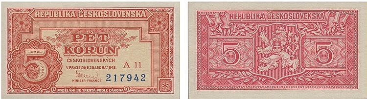 Paper Money - Czechoslovakia 5 Korun 1949