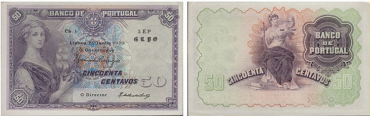 Paper Money - Portugal - 50 Centavos ch. 1 1920