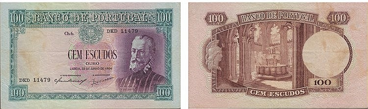 Paper Money - Portugal - 100$00 ch. 6 1954