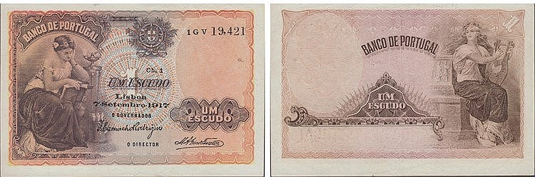 Paper Money - Portugal 1$00 ch. 1 1917