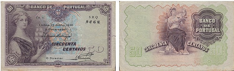 Paper Money - Portugal 50 Centavos ch. 1 1920