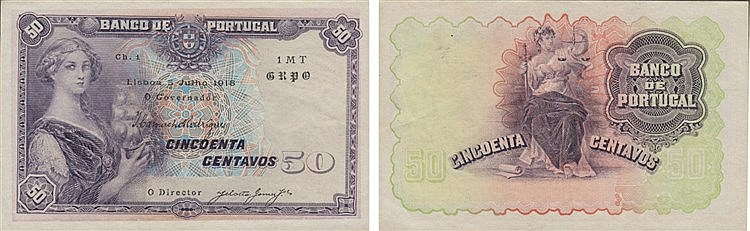Paper Money - Portugal 50 Centavos ch. 1 1918