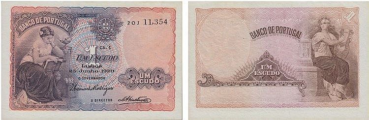 Paper Money - Portugal 1$00 ch. 1 1920