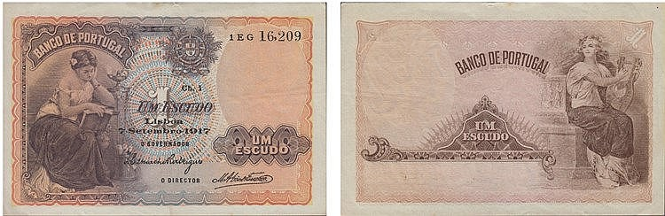 Paper Money - Portugal - 1$00 ch. 1 1917