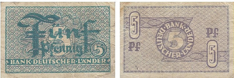 Paper Money - Germany 5 Pfennig ND (1948)