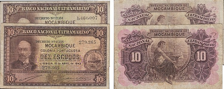 Paper Money - Mozambique 2 expl. 10$00 1943-1945