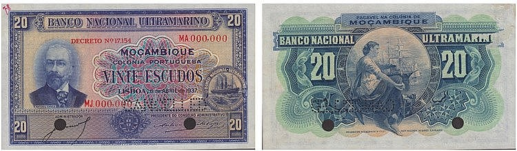 Paper Money - Mozambique 20$00 1937 TEST